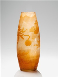 vase with anémones decor by cristallerie d'emile gallé
