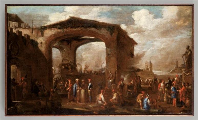 la darsena nel porto di genova by cornelis de wael