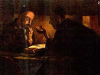 two jewish scholars at a table by sam fischer