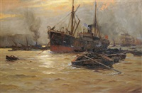 river scene with barges and other shipping (the pool of london?) by ernest dade