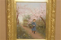 young girl carrying a basket on a sunlit path in an orchard by jean-paul haag