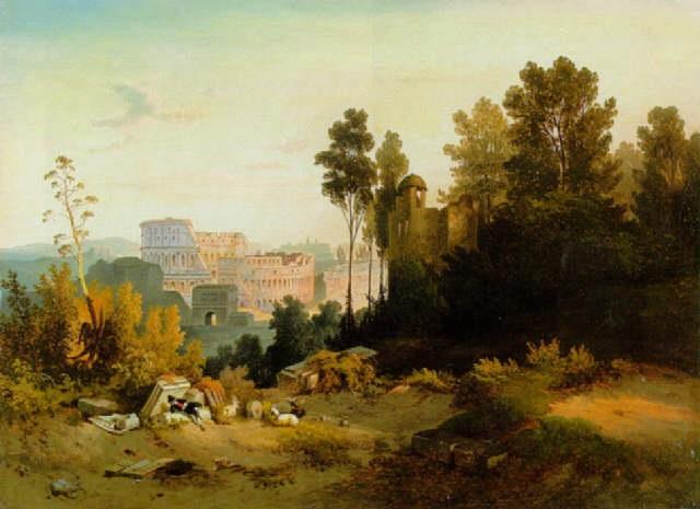 rom blick vom palatin auf konstantinsbogen und kolosseum by august wilhelm ferdinand schirmer