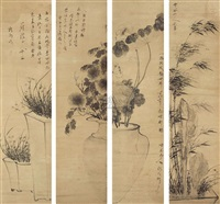 flowers (4 works) by luo qing