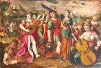 die bejubelung davids nach dem kampf mit goliath by frans floris the elder