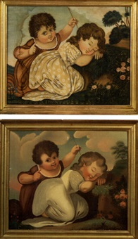 portrait of two children in landscape (+ another, watercolor on silk; pair) by michele felice cornè