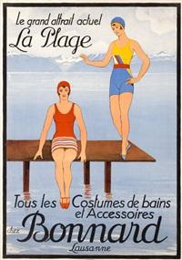 le grand attrait / la plage / tous les costumes de bain et accessoires chez bonnard lausanne (poster) by johann emil müller