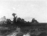 landschaft mit schafherde vor einem dorf by otto paul seltzer