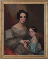 portraits of harriet read allen with her daughter, elizabeth, and a young boy with his dog (a pair) by alvan fisher