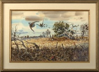 game birds in flight with hunters in the distance by clay mcgaughy