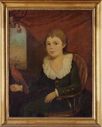 portrait of a boy seated in a windsor chair with a cardinal perched on his right hand by james earl