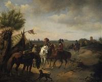 reitergelage vor den toren der stadt by carl adolf heinrich hess