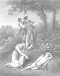 der schlafende amor wird von jungen nymphen überrascht by friedrich rehberg