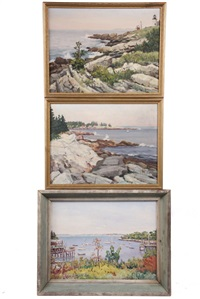 views of the maine coast: new harbor, maine in autumn; along the shore; pemaquid point (3 works) by parker gamage