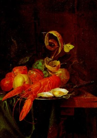nature morte au homard et verre by pieter de ring