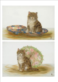 kitten seated beside a japanese parasol; kitten seated beside a muffin dish and cover (pair) by bessie bamber