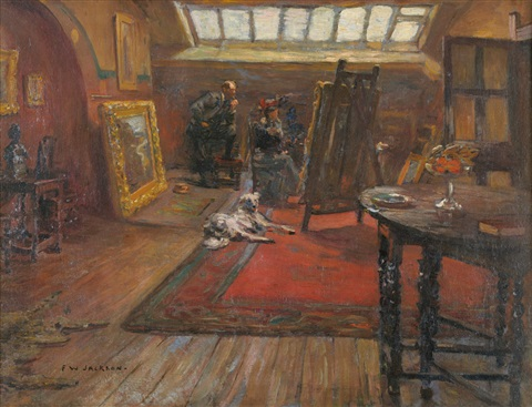 the artists studio with a lady and gentleman examining a picture on an easel by frederick william jackson