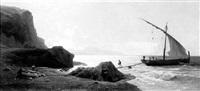 italienische küste mit fischerboot by karl august lindemann-frommel