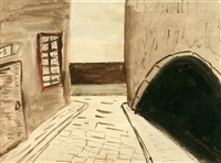 paysage urbain, coin de rue avec maison et tunnel by raymond queneau