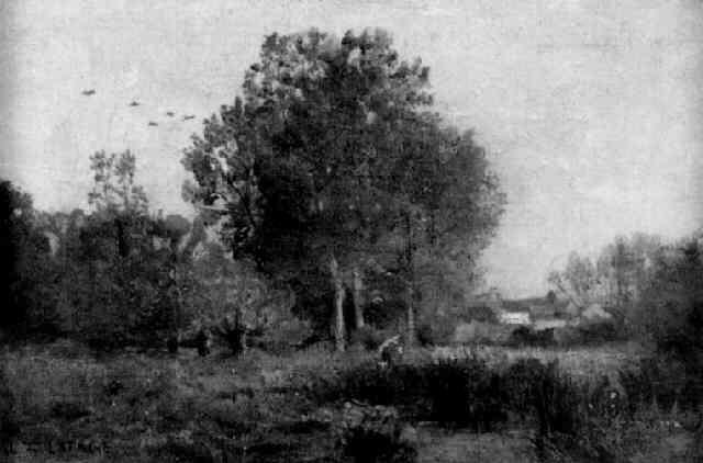 blick über eine wiesenlandschaft auf ein bauerndorf by georges de lafage laujol