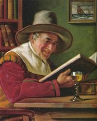 handelsherr liest in einem foliant, seitlich das gefüllte weinglas by emil kuhlmann-reher