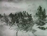 pferdeschlitten, von angreifen wölfen bedroht by emil rumpf