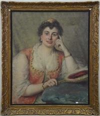 femme à l'éventail by léon herbo