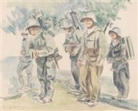 soldatengruppe im freien by friedrich traffelet