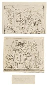 herakles mit thanatos um alkestis ringend (2 works) by bonaventura genelli