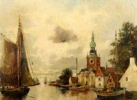 boats along river city bank by a. herbe