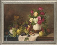 roses in a vase with grapes, apples, peaches and plums to the side, on a table by alois zabehlicky