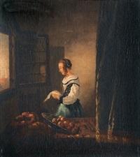 Das brieflesende Mädchen am offenen Fenster, 1672