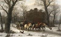 holzfuhrwerk im winterwald by caesar bimmermann