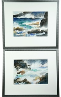 surf on rocks (pair) by leo brooks