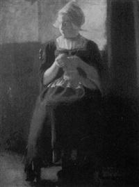 untitled (portrait of a seated dutch maiden knitting) by cornelius christiaan zwaan