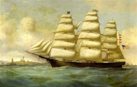 american clipper ship daring off the white cliffs of dover by duncan mcfarlane
