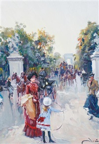 view down the champs elyssées by juan puig soler