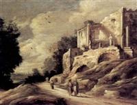 ruinenlandschaft mit altem weg und figurenstaffage by pieter anthonisz van groenewegen