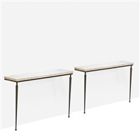console tables (pair) by jacques adnet
