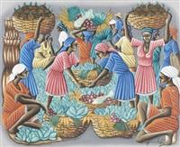 belebte marktszene mit früchten und gemüse by gérard valcin