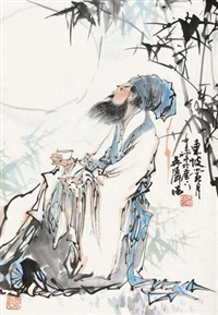东坡赏月 立轴 设色纸本 by wu zehao