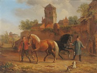 two figures with horses and a dog, with buildings nearby by jacob akkersdijk