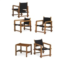 table and four chairs (5 works) by jacques adnet