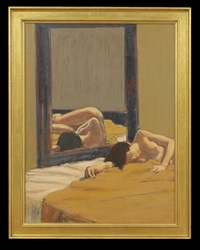 reclining nude reflected in a mirror by william anzalone