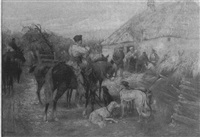 barnyard scene with figures and hunters on horseback with hunting dogs by l.p. stentzler