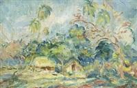 hyddor under palmer - motiv från tahiti by maxim kopf