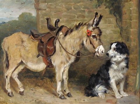 donkey and a dog beside a cottage by john emms