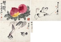 双寿 花卉 (flowers) (3 works) by zhang daqian and qi baishi