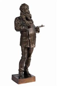 bronzefigur des malers jean-louis-ernest meissonier (1815 works) by vincenzo gemito