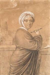 bildnis einer jungen dame auf einer terrasse am heidelberger schloss, wohl portrait der malerin und dichterin amalie von hellwig by karl josef raabe