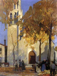 french country market scene with village church by m. l. rivière
